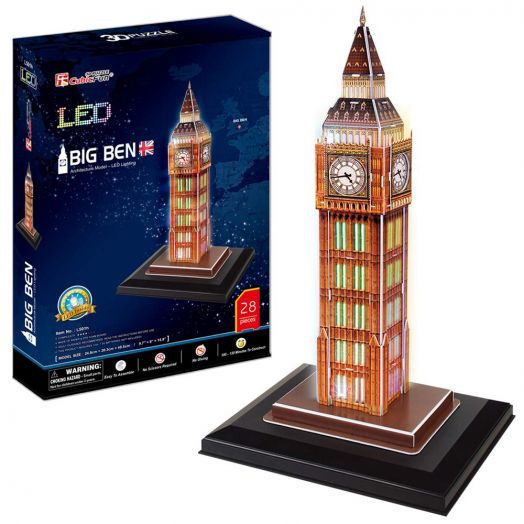 "3D LED dėlionė - ""Big Benas"" 28 det., Cubic Fun"